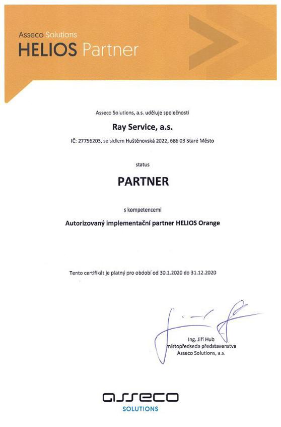 Certifikát o partnerství s ASSOL